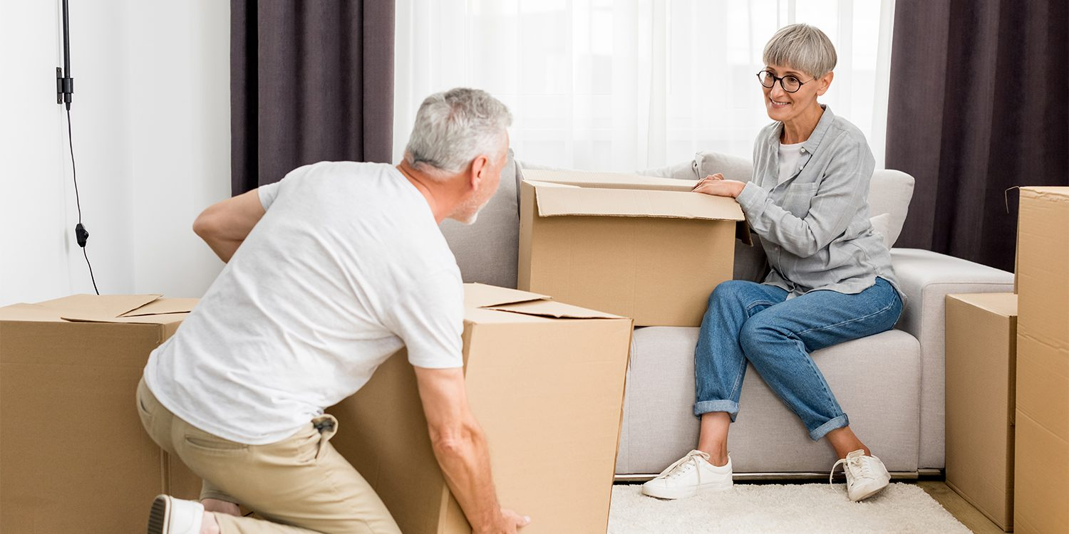 Couple packing up an inherited property